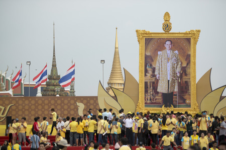 bhumibol: people at the Birthday of King Bhumibol at the Sanam Luang Park in the city of Bangkok in Thailand in Southeastasia.