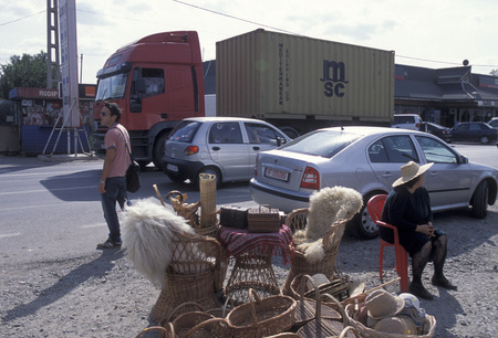 trafic: a highway reststop outside the city of constanta on the Black sea in Romania in east europe. Editorial