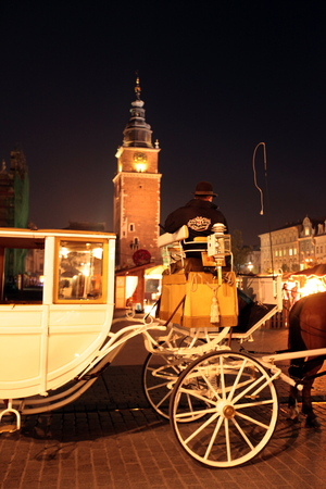 horse drawn carriage: a horse drawn carriage at the Rynek Glowny square with the church of St Mary in the old town of Cracow in Poland in east Europe. Editorial