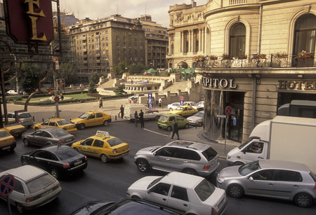 trafic: a road in the city of Bucharest in Romania in east europe.