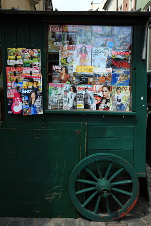 rynek: a shop and kiosk at the Rynek Glowny square in the old town of Cracow in Poland in east Europe. Editorial