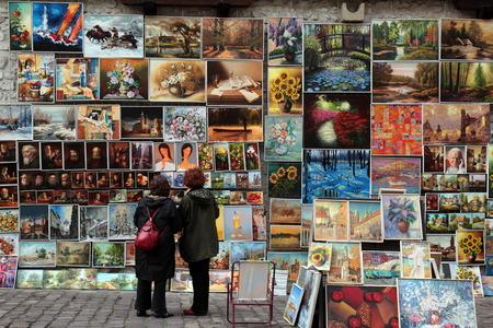 rynek: a art market shop at the Rynek Glowny square in the old town of Cracow in Poland in east Europe.
