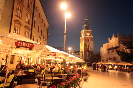 cityhall: the city hall tower at the  Rynek Glowny square in the old town of Cracow in Poland in east Europe. Editorial