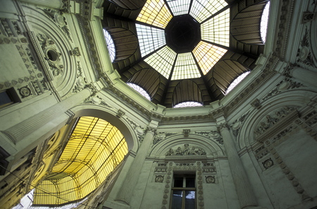 the covered Passage of Pasajul Villacros in the city of Bucharest in Romania in east europe. Editorial