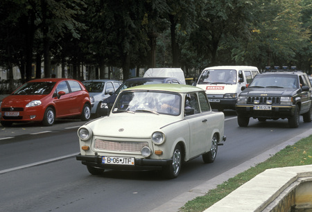 east europe: a road in the city of Bucharest in Romania in east europe.