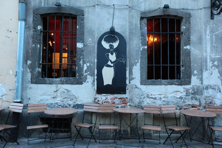 rynek: a restaurant at the Rynek Glowny square in the old town of Cracow in Poland in east Europe.