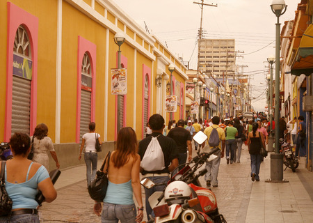 southamerica: people in a shopping street in the city of Valencia in the west of Venezuela. Editorial
