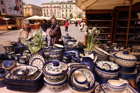 rynek: a market at the Rynek Glowny square in the old town of Cracow in Poland in east Europe.