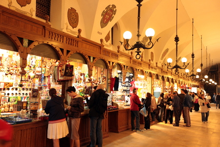 rynek: the indoor market at the Rynek Glowny square in the old town of Cracow in Poland in east Europe.