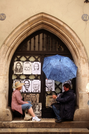 rynek: art salers at the Rynek Glowny square in the old town of Cracow in Poland in east Europe. Editorial