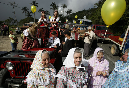 southamerica: people at the traditional Festival on the 11. November in the Town of the German Colony in the Mountain Village of Colonia Tovar in the north of Venezuela.