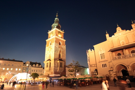 rynek: the city hall tower at the  Rynek Glowny square in the old town of Cracow in Poland in east Europe. Editorial