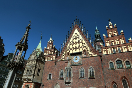 old town townhall: the Town Hall at the Stray Rynek square in the old town of Wroclaw in Poland in east Europe.