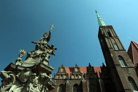rynek: the church of st Elizabeth at the Stray Rynek square in the old town of Wroclaw in Poland in east Europe. Editorial