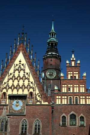 wroclaw: the Town Hall at the Stray Rynek square in the old town of Wroclaw in Poland in east Europe.
