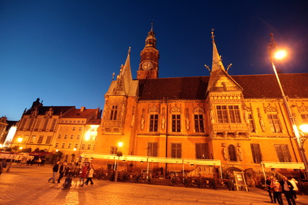rynek: the Town Hall at the Stray Rynek square in the old town of Wroclaw in Poland in east Europe.