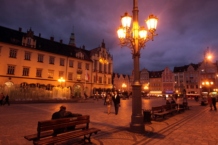 wroclaw: the Stray Rynek square in the old town of Wroclaw in Poland in east Europe. Editorial