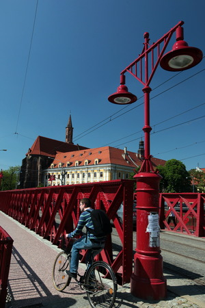 east europe: a bridge in the old town of Wroclaw in Poland in east Europe.
