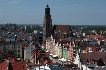east europe: the Stray Rynek square in the old town of Wroclaw in Poland in east Europe. Editorial