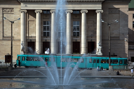 east europe: a tram in the city centre of Poznan in Poland in east Europe. Editorial