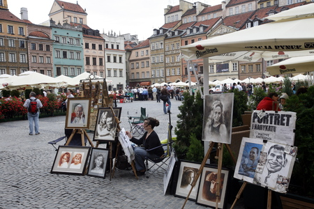 a street market in the old town in the City of Warsaw in Poland, East Europe.