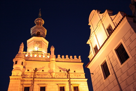 rynek: the city hall or town hall at the Stray Rynek square in the old town of Poznan in Poland in east Europe. Editorial