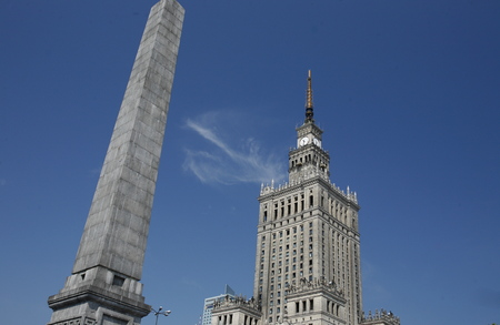east europe: The Culture Palace in the City of Warsaw in Poland, East Europe.