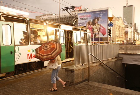 east europe: a city train in the City of Warsaw in Poland, East Europe.