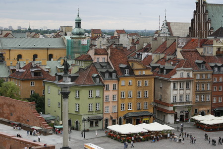 east europe: the Zamkowy Square in the old town in the City of Warsaw in Poland, East Europe.