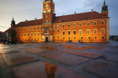 east europe: the Zamkowy Square in the City of Warsaw in Poland, East Europe. Editorial