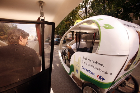 electro: A Electro Taxi  in the City of Warsaw in Poland, East Europe. Editorial