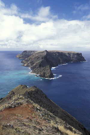 santo: the coast on the Island of Porto Santo ot the Madeira Islands in the Atlantic Ocean of Portugal.