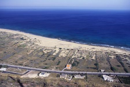 atlantic ocean: a Beach on the Island of Porto Santo ot the Madeira Islands in the Atlantic Ocean of Portugal. Stock Photo
