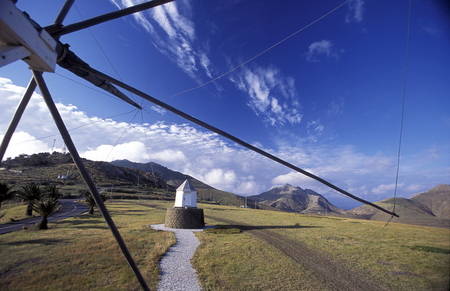 portugal agriculture: a traditional wind mill on the Island of Porto Santo ot the Madeira Islands in the Atlantic Ocean of Portugal.