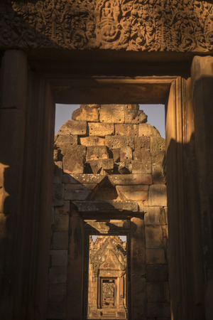 tam: the Khmer Temple Ruins of the Prasat Muang Tam south of the city of Buri Ram in Isan in Thailand.