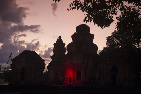 surin: a Light and Show at the Prasat Sikhoraphum Temple at the Town of Sikhoraphum near the city of Surin in Isan in Thailand.