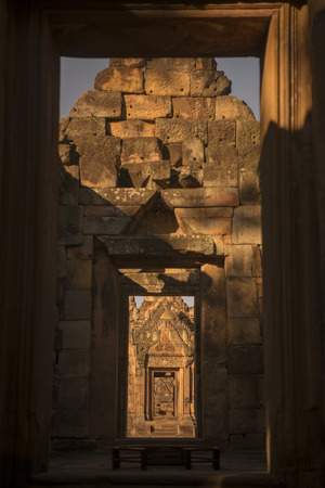 prasat: the Khmer Temple Ruins of the Prasat Muang Tam south of the city of Buri Ram in Isan in Thailand.