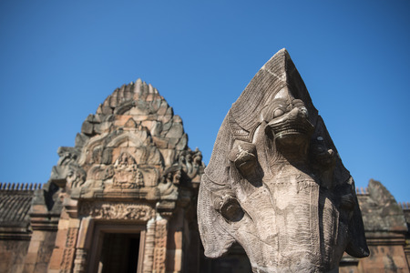 rung: the Khmer Temple Ruins of the Prasat Phanom Rung south of the city of Buri Ram in Isan in Thailand. Stock Photo