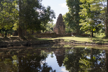 tot: the Temple Ruin of the Prasat Ta Muean Tot Temple of the Muean Group of Khmer Temples direct at the Border of Thailand and Cambodia south of the city of Surin in Isan in Thailand.