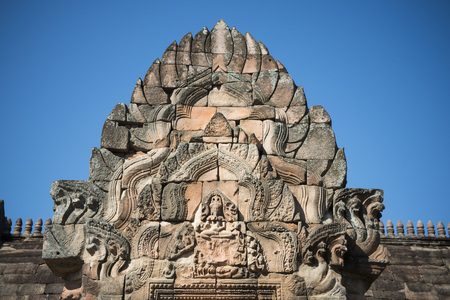 prasat: the Khmer Temple Ruins of the Prasat Phanom Rung south of the city of Buri Ram in Isan in Thailand. Stock Photo