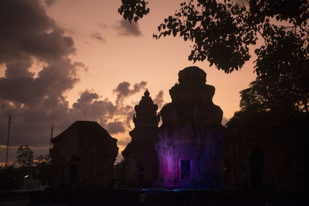 prasat: a Light and Show at the Prasat Sikhoraphum Temple at the Town of Sikhoraphum near the city of Surin in Isan in Thailand.