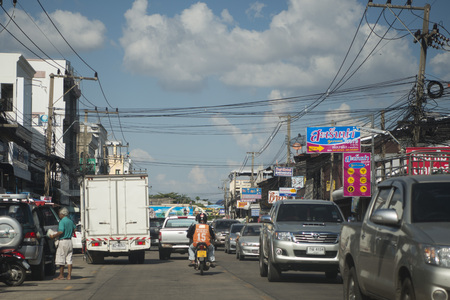 surin: a street at the Market in the city of Surin in Isan in Thailand. Editorial