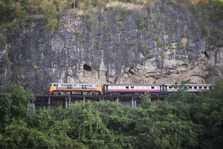 the Death Railway travel at the River Kwai of the Burma-Thailand Railway  north of the City of Kanchanaburi in Central Thailand in Southeastasia. Editorial