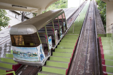 sua: a cablecar transport at the wat tham sua near the City of Kanchanaburi in Central Thailand in Southeastasia. Editorial