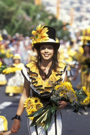 flower parade: a parade of the Spring Flower Festival in the city of Funchal on the Island of Madeira in the Atlantic Ocean of Portugal.