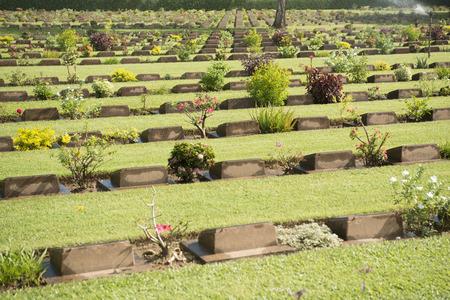 near death: the Allied War Cemetery near the Death Railway Bridge over the River Kwai of the Burma-Thailand Railway in the City of Kanchanaburi in Central Thailand in Southeastasia.