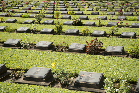 the Allied War Cemetery near the Death Railway Bridge over the River Kwai of the Burma-Thailand Railway in the City of Kanchanaburi in Central Thailand in Southeastasia.