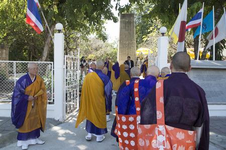 near death: the Japanese memorial near the Death Railway Bridge over the River Kwai of the Burma-Thailand Railway in the City of Kanchanaburi in Central Thailand in Southeastasia. Editorial