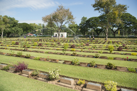 allied: the Allied War Cemetery near the Death Railway Bridge over the River Kwai of the Burma-Thailand Railway in the City of Kanchanaburi in Central Thailand in Southeastasia.