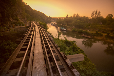 the Death Railway travel at the River Kwai of the Burma-Thailand Railway  north of the City of Kanchanaburi in Central Thailand in Southeastasia. Stock Photo